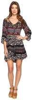 Brigitte Bailey Nisha 3/4 Sleeve Tie-Front Ruffle Dress
