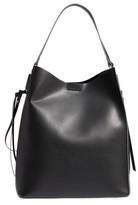 Sole Society Faux Leather Bucket Bag & Zip Pouch - Black