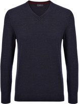 Merinos Patch V Sweater In Navy