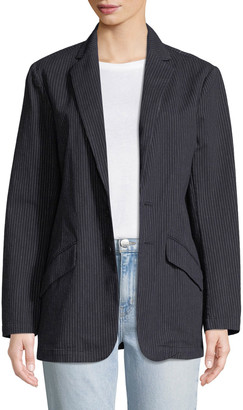 Current/Elliott Late Night Striped Button-Front Blazer