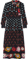 RED Valentino Lace-trimmed Printed Silk Crepe De Chine Dress - Black