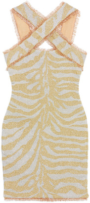 Herve Leger Metallic Zebra-jacquard Mini Dress