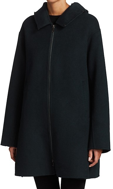 Thumbnail for your product : The Fur Salon Fox Fur-Trim Hooded Wool Coat