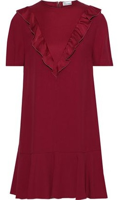RED Valentino Satin-trimmed Ruffled Crepe Mini Dress
