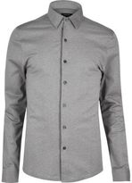 River Island MensGrey cotton pique shirt