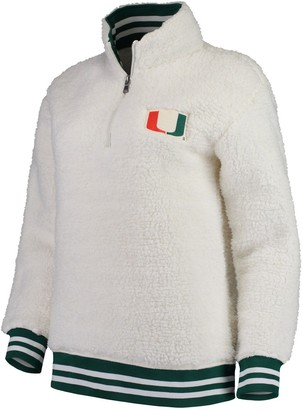 Women's Cream Miami Hurricanes Varsity Banded Sherpa Quarter-Zip Pullover Jacket