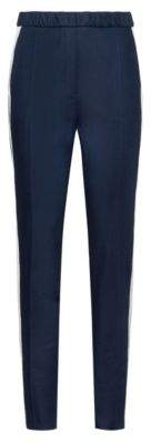 HUGO High-waisted trousers in stretch gabardine with contrast stripe