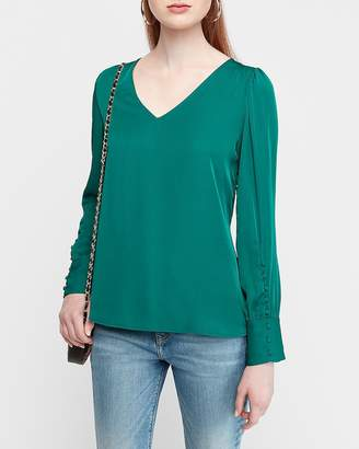 Express Puff Sleeve Large Button-Cuff V-Neck Blouse