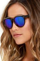LuLu*s Level Up Tortoise and Purple Mirrored Sunglasses
