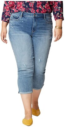 NYDJ, Plus Size NYDJ Plus Size Plus Size Chloe Capri Jeans with Raw Cuffs in Sandspur (Sandspur) Women's Jeans