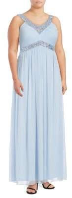 Decode 1.8 Plus Beaded Chiffon Gown