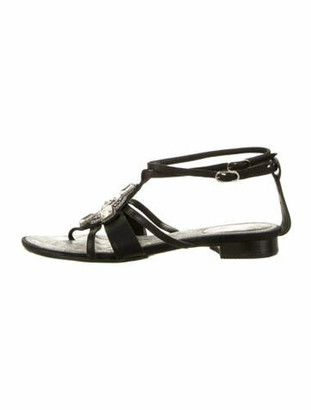 Chanel Crystal Embellishments T-Strap Leather Gladiator Sandals Black