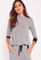 Missguided High Neck Contrast Cuff & Hem Sweater Grey Marl