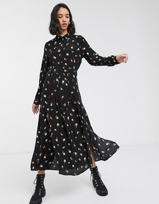 Only maxi shirt dress in black floral