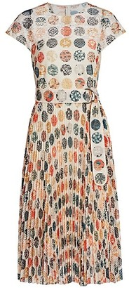 Akris Punto Wood Block-Print Sakura Dot Accordion Pleat A-Line Dress