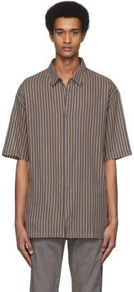 Robert Geller Navy and Brown Linen The Striped Shirt