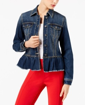 INC International Concepts Inc Ruffled Denim Jacket, Created for Macy's