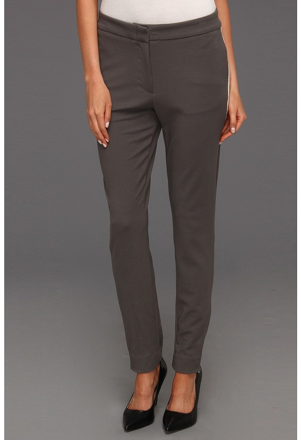 Halston Skinny Pant with Contrast Tuxedo Stripe (Dark Flint) - Apparel