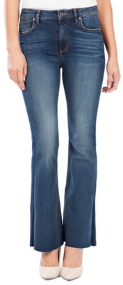 KUT from the Kloth Stella High Waist Raw Hem Flare Jeans