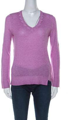 Zadig and Voltaire Lilac Purple Stone Wash Finish Wool Blend Knit V Neck Rilby Sweater XS