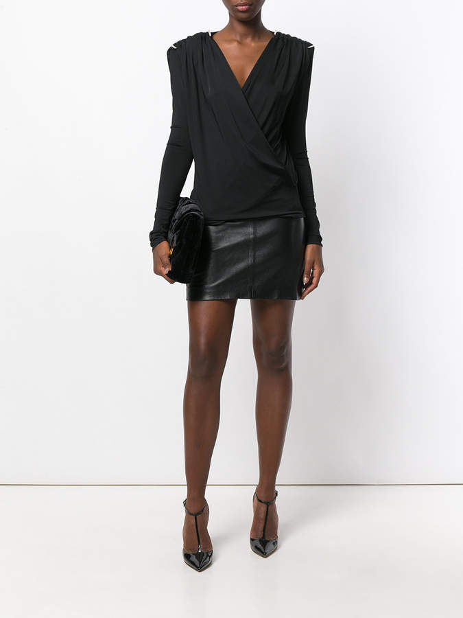 Thierry Mugler wrap front blouse