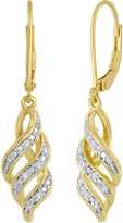 JCPenney FINE JEWELRY 1/10 CT. T.W. Diamond 14K Gold Over Sterling Silver Swirl Earrings