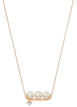 story. Own Your 14K Rose Gold Neo Pearl Third Time is the Charm Freshwater Pearl & Diamond Necklace, 18