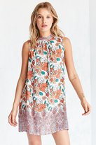 Ecote Scarf Print Mock Neck Mini Shift Dress