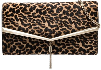 Jimmy Choo Leopard Print Tassel Clutch Bag
