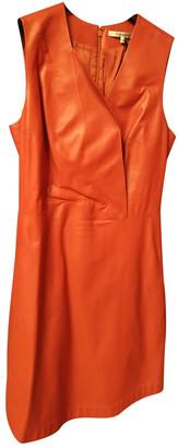 Carven Orange Leather Dresses