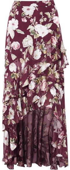 Alice + Olivia Alice Olivia - Walker Asymmetric Tiered Floral-print Fil Coupé Chiffon Maxi Skirt - Burgundy