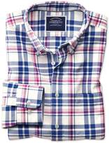 Slim Fit Button-Down Washed Oxford Royal and Pink Check Cotton Casual Shirt Single Cuff Size Large by Charles Tyrwhitt