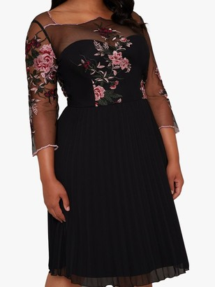 Chi Chi London Curve Adalee Dress, Black/Multi