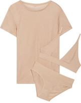Base Range Baserange - Jersey T-shirt, Soft-cup Bra And Briefs Set - Black