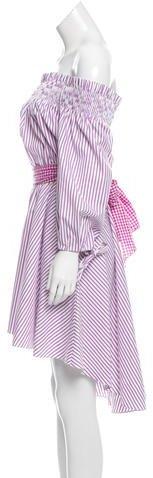 Caroline Constas Striped Off-The-Shoulder Lou Dress