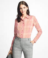 Brooks Brothers Petite Fitted Cotton Poplin Mini-Gingham Blouse