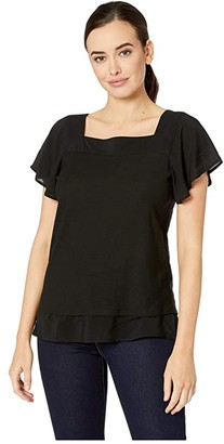 Vince Camuto Short Sleeve Squared Neck Layered Top (Rich Black) Women's Short Sleeve Pullover
