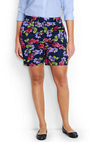 "Lands' End Women's Plus Size Mid Rise 7"" Chino Shorts-Deep Sea Blossom"