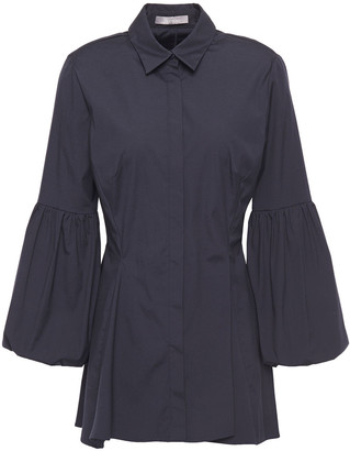 Lela Rose Gathered Cotton-blend Poplin Shirt
