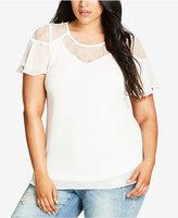 City Chic Trendy Plus Size Illusion-Lace Top