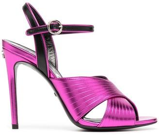 Gucci Metallic-Finish Cross-Strap 104mm Sandals