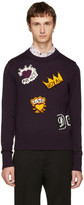 Dolce & Gabbana Purple King Patches Sweater