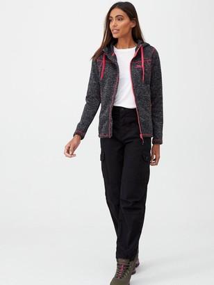Trespass Odelia Full Zip Fleece Hoodie - Black/Pink