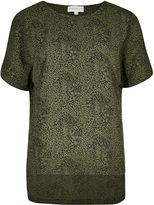 Apricot Khaki & Black Abstract Leopard Print Blouse