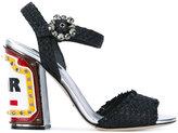 Dolce & Gabbana embellished raffia Keira sandals