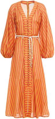 Zimmermann Edie Belted Striped Cotton-voile Midi Dress