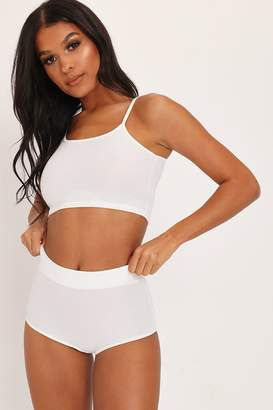 I SAW IT FIRST White Ribbed Bralet & High Waisted Briefs Set