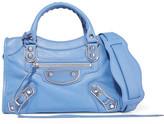 Balenciaga City Metallic Edge Mini Textured-leather Tote - Blue
