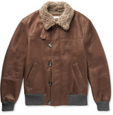 Brunello Cucinelli Cashmere-trimmed Shearling Bomber Jacket - Brown