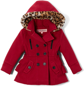 Urban Republic Scarlet Red Ruffle-Back Hooded Peacoat - Girls